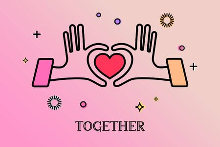 Hands in form of heart, hands together, Relationship concept.