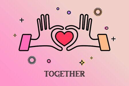 Hands in form of heart, hands together, Relationship concept.