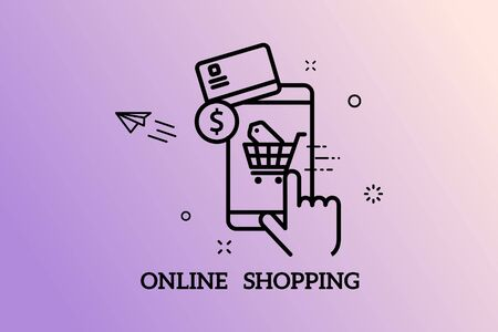Banners Design Concept for Online Shopping,Vector 向量圖像