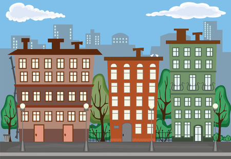 row houses: Illustration of City in Summer