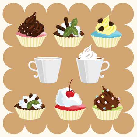 Two Cups of Coffee and Several Cakes Illustration