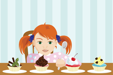 ponytail: Young Girl Choose a Cake