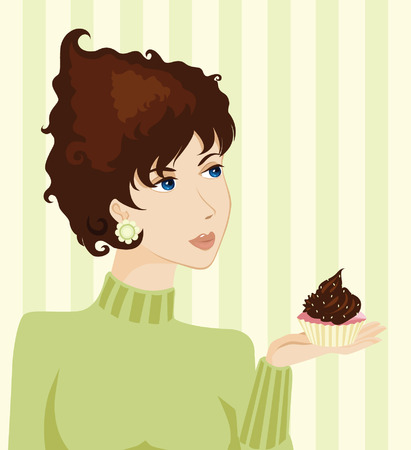 Young Woman and Cake Vector