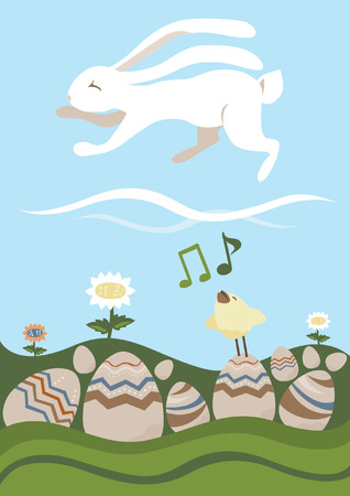 songbird: Easter Card: Wight Rabbit and Songbird
