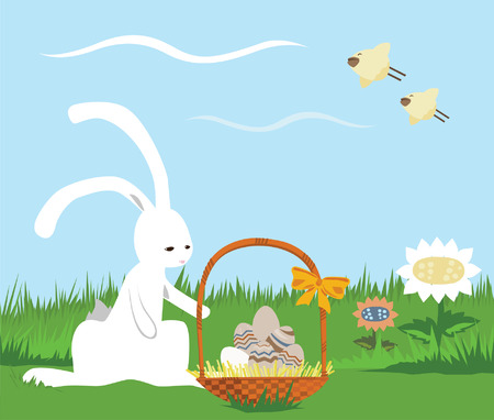 Easter Card: Rabbit and Basket with Eggs Vector
