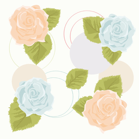 leaves vector: Background with Orange and Blue Roses