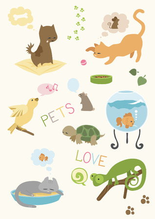 Cute Pets Set Illustration