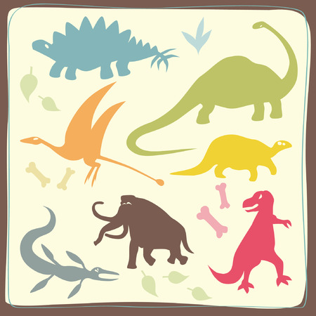 Dinosaurs Coloured Set Vector