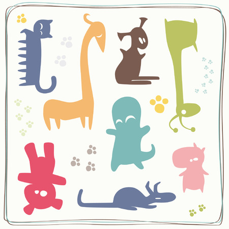 Set of Colored Little Monsters Vector