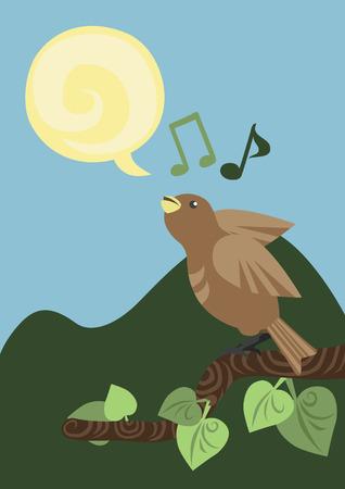 One Singing Little Bird Vector