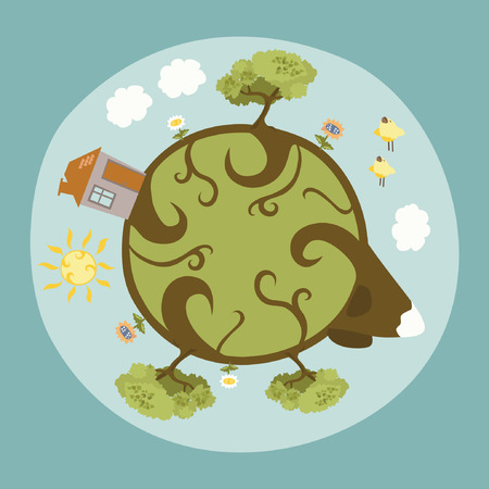 Around the Little Planet - our Home Vector