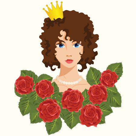 Princess with Red Roses Vector