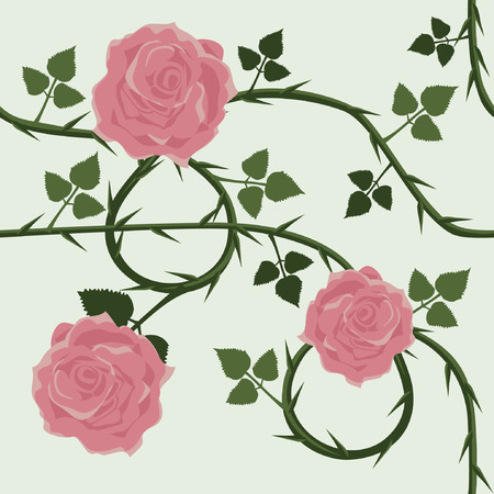 Vector Seamless Pattern with Roses Illustration