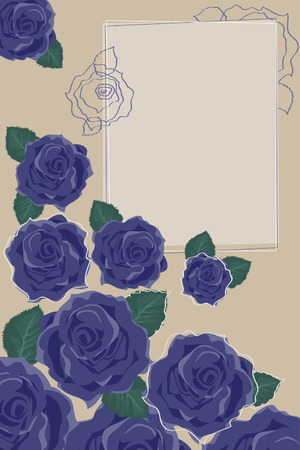 Background with Blue Roses Illustration
