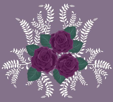 Background with Purple Roses Vector
