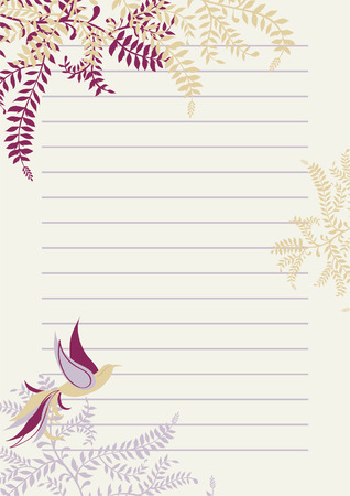 Lined Page with Floral Decoration
