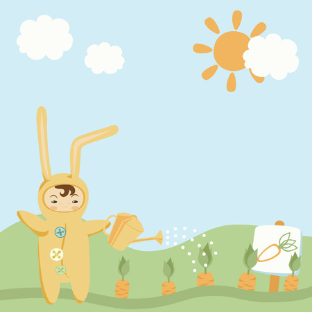 Small Child in Bunny Costume Illustration