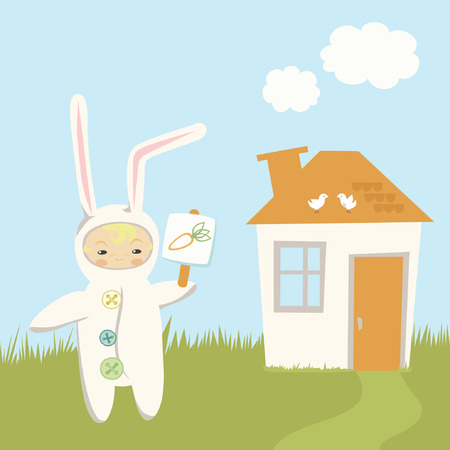 Small Child in Bunny Costume Vector