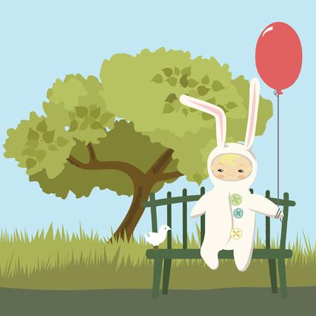 Niños pequeños en Bunny Vestuario