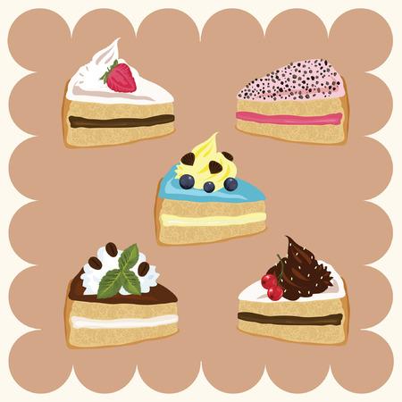 porcion de torta: Piezas de Pasteles Vectores