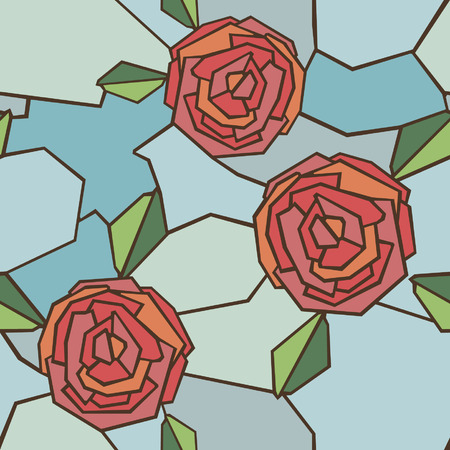 rose window: Vector Seamless Pattern of  Stained-Glass Window