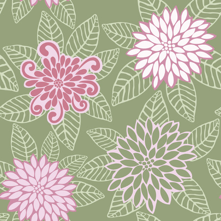 Vector Seamless Pattern of Pink Flowers Illustration