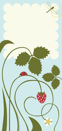 Postcard with Leaves and Strawberries Vector