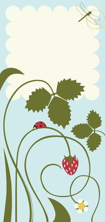 Postkarte mit Blättern und Erdbeeren