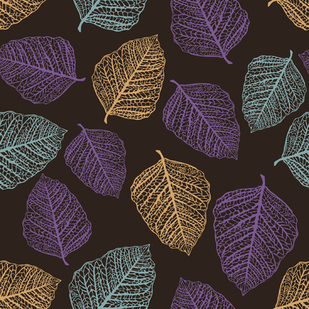 Vector Seamless Pattern of Colored Leaves Stock Vector - 5083706