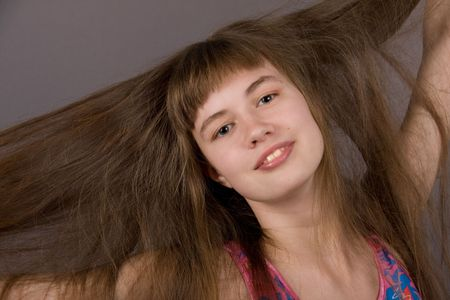 Girl with Long Blond-Brown Hair photo