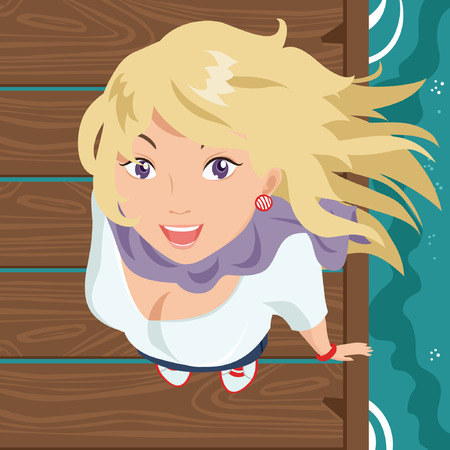 blonde teenage girl: Smiling Girl on the Wooden Pier Illustration