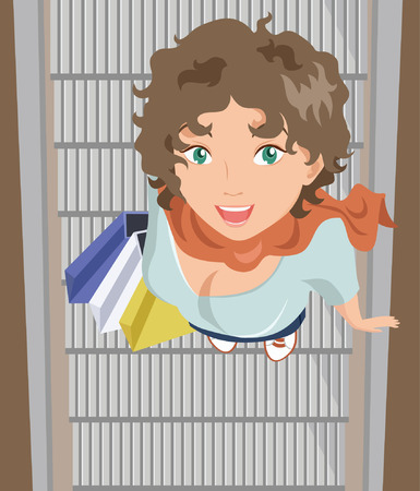 Smiling Girl with Bags on Escalator Vector