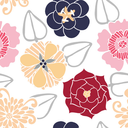 gray pattern: Vector Seamless Pattern of Colored Flowers. Picture with Mask. Illustration