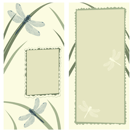 Vertical Greeting Card with Dragonflies Vector