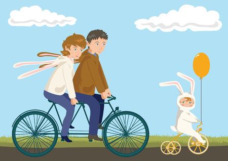 niños en bicicleta: Ciclismo familia: Padre, Madre y el Niño en Conejo Disfraces Vectores