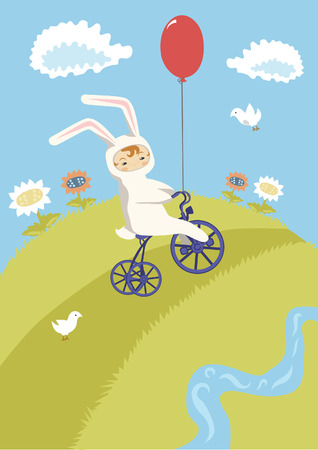 Little Cyclist in Bunny Costume Vector