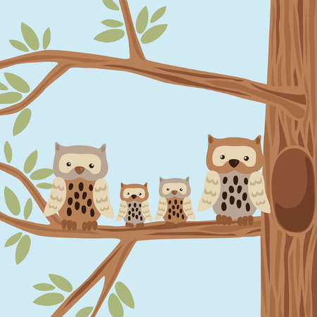 Owl Family on the Tree Vector