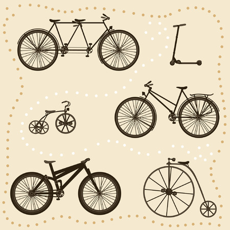 Vector Set of Bicycle Silhouettes Vector