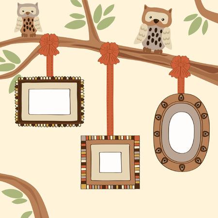 genealogical: Three Empty Frames on Family Tree Illustration