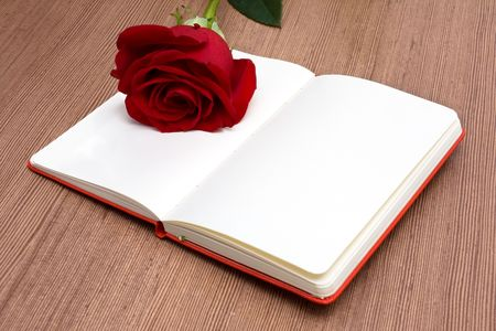 Open Notebook with Red Rose photo