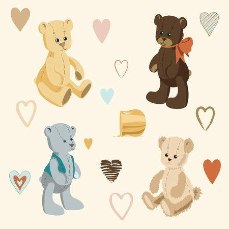 Illustration of Cute Teddy Bears and Little Colored Hearts