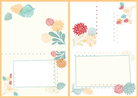 a6: Two-Sided A6 Postcard with Leaves and Flowers Illustration