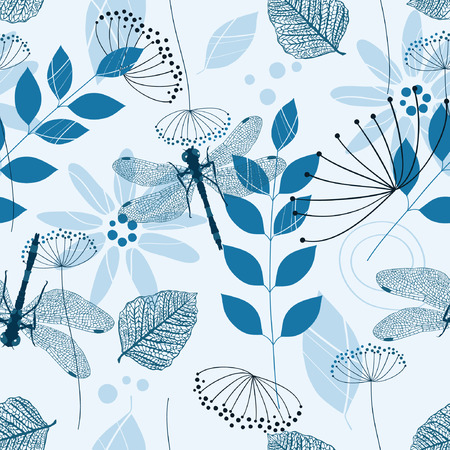 Vector Seamless Pattern of Blue Flowers and Leaves