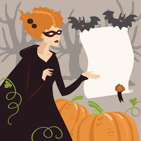 Young Woman in Halloween Witch Costume Vector