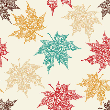 Vector Seamless Pattern of Colored Maple Leaves