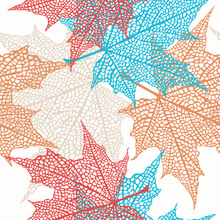 Vector seamless pattern of colored maple leaves Vector