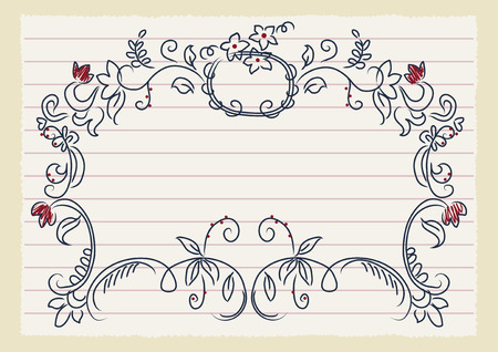 Hand drawn frame on lined page Vector
