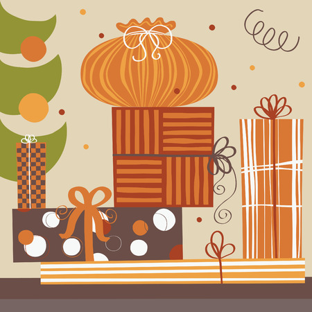 Pile of wrapping gift boxes Vector