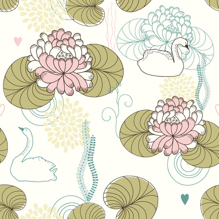 swans: Vector seamless pattern of water lilies and swans