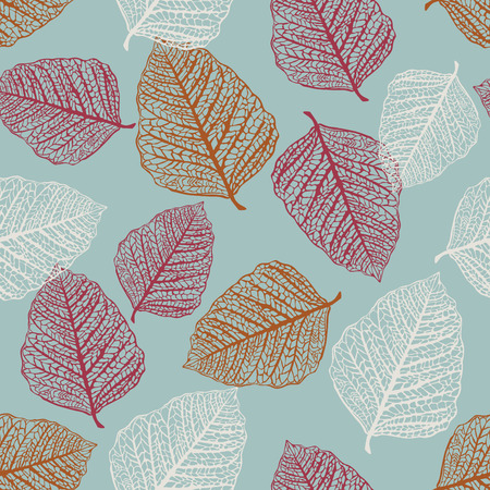 Vector Seamless Pattern of Colored Leaves